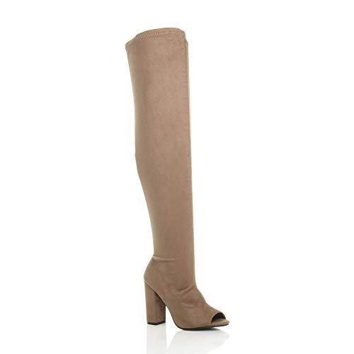 Block Heel Ajvani Size Ladies peep Over Mocha Knee high Womens Stretch Suede Toe Thigh Sock Boots w1AHBItAqn