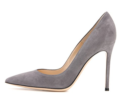 (Sammitop Women's Pointed Toe High Heel Pumps Slip On Elegant Stilettos Office Shoes Grey US7.5)