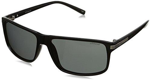 Polaroid Sunglasses PLD2019S Polarized Rectangular Sunglasses, Shiny Black & Gray Polarized, 59 - Polaroid Brand Sunglasses