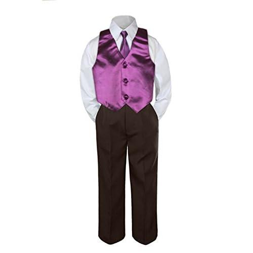 Leadertux 3pc Formal Baby Toddler Boys Eggplant Necktie Brown Pants Suit Set S-7 3T
