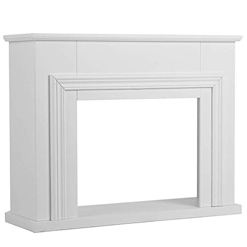 Mecor Fireplace Mantel Surround,Electric Fireplace TV Stand Without Fireplace,Living Room Furniture (White)