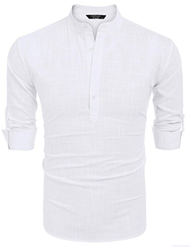 COOFANDY Men Premium Henley Neck Linen Shirts Casual Long Sleeve Basic Shirts,White,Large, White, Large by COOFANDY