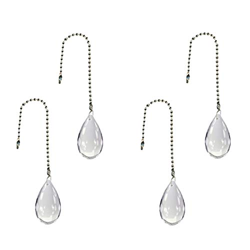 - 4pcs/set Gorgeous Crystal 46mm Drops Crystal Ceiling Fan Christmas Tree Zipper Charm (transparent white)