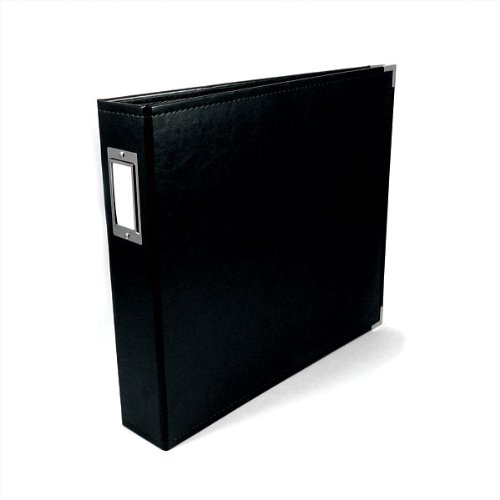 8.5 x 11-inch Classic Leather 3-Ring Album by We R Memory Keepers | Black, includes 5 page protectors -