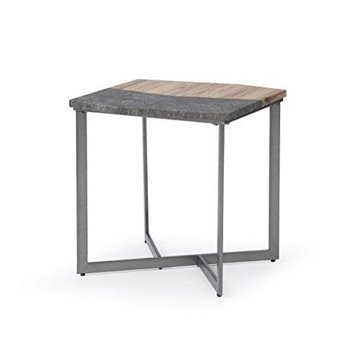 Square End Table With Multi-Surface Top And Angular Base