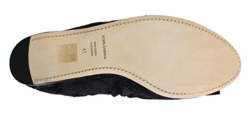 Dolce & Gabbana Black Taormina Lace Crystal Ballet Flat Shoes muiZ6CQ4KK