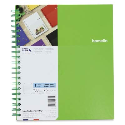 """Hamelin College Ruled Notebook Single Subject Hard Cover Double Spiral, 8.5 x 11"""", 150 Pages, Emerald Green 400114135"""