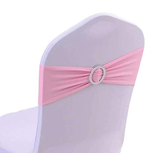50PCS Spandex Chair Sashes Bows Elastic Chair Bands with Buckle Slider Sashes Bows for Wedding Decorations sy66 (Pink)
