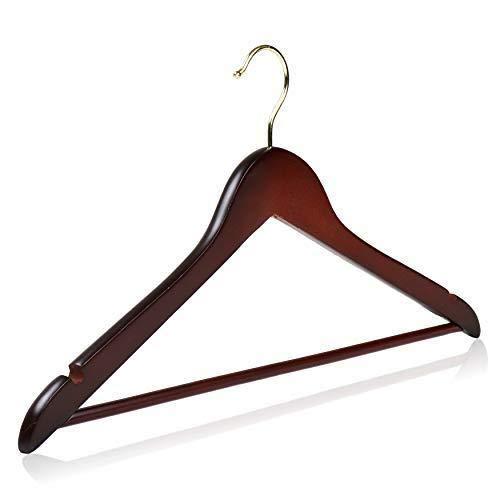 HANGERWORLD 5 Holz Kleiderb/ügel mit Hosensteg 45cm Stylisch Lila Wei/ß Gepunktet Polka Dot