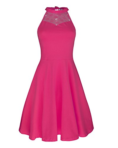 KILIG Women's Lace Patchwork Off Shoulder Pleated Party Casual Dresses(Rose,XL)