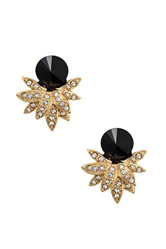 Trendy Fashion Jewelry Round Rhinestone Spike Gem Post Earring By Fashion Destination | (Gold/Black)