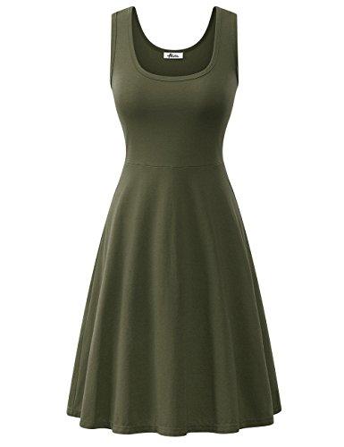 Cotton Green Flared Casual Tank Beach Herou Army Summer Women Sleeveless Dress Taxtv