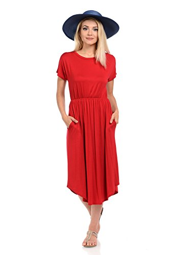 iconic luxe Women's Solid Short Sleeve Flare Midi Dress with Pockets Large Red