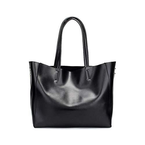 (GENUINE LEATHER METALLIC TOTE Large Big Size Cabas ping Shoulder Bag H bag Black)