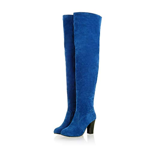 JOYBI Women's Fashion Over The Knee Boots Faux Suede Round Toe Zip High Heel Winter Riding Thigh High Boots Blue (Cuffed Boot Knee)