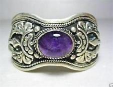 Exquisite Tibet Silver Amethyst Cuff Bracelet ()