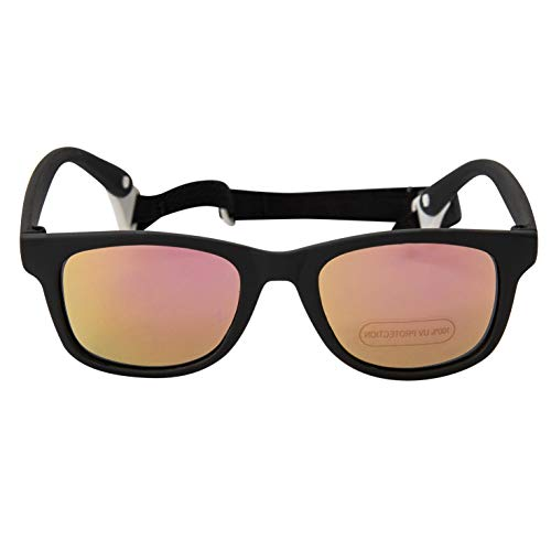 Baby Solo Babyfarer Baby Toddler Sunglasses/Infant Newborn Sunglasses (0-24 months, Matte Black Frame w/Hot Pink Mirror - Newborns Eyes