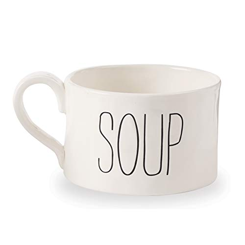 Mud Pie 43600006S Farmhouse Oversize Soup Mug, One Size, White