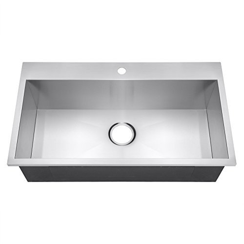 Golden Vantage 32 Handmade Top Mount Single Bowl Drop-In 16 Gauge Stainless Steel Kitchen Sink by Golden Vantage by Golden Vantage