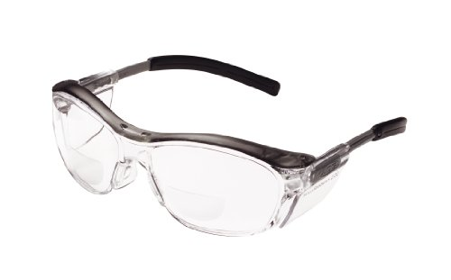 3M Safety Glasses with Readers, Nuvo Readers, +2.0 Diopter, ANSI Z87, Clear Lens, Gray Frame, Soft Nose Bridge, Side…
