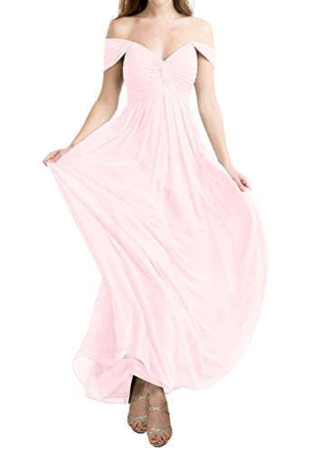 JAEDEN Bridesmaid Dress Evening Formal Gowns Chiffon Long Prom Dress Off The Shoulder Bridesmaid Dresses Blushing Pink