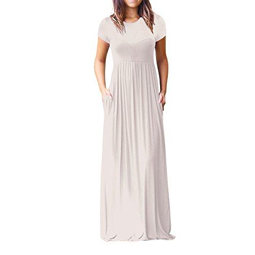 iLUGU O-Neck Short Sleeve Maxi Dress For Women Solid Color Empire Line Gold Dresses For ()