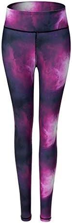 ウェア フィットネスヨガウェア スポーツパンツを実行している女性のフィットネス服ハイストレッチタイトなヨガのプリントパンツジムトレーニングナイト 抜群な伸縮性をもち (色 : 紫の, Size : S)