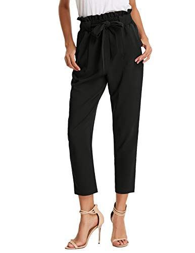 (JAYHouse Womens Pants Casual High Waist Trouser Cropped Paper Bag Waist Pants with Pockets (Black,XXL) )