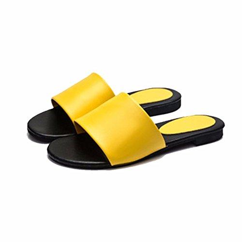 YUCH Y Damas EN Sandalias La Parte Sandalias De Inferior Yellow Planas r1qraxw