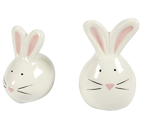 (Ceramic Salt and Pepper Shakers - Ceramic Seasoning Set, 2-Piece Bunny Rabbit Salt Pepper Containers, White and Pink)