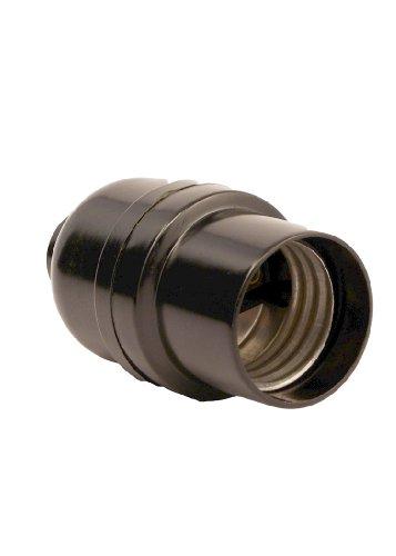 Leviton 95080 Medium Base Complete, Phenolic Shell Incandescent Lampholder, Keyless, Single Circuit, 1/8 IPS Tapped Bushing with Set Screw, Black
