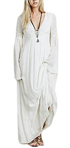Womens Sexy Bohemian Vintage Embroidered Flare Sleeve Maxi Dress