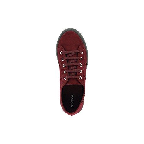 Zapatillas Victoria 07305 - Blucher de Antelina con Suela Doble Burdeos Burdeos