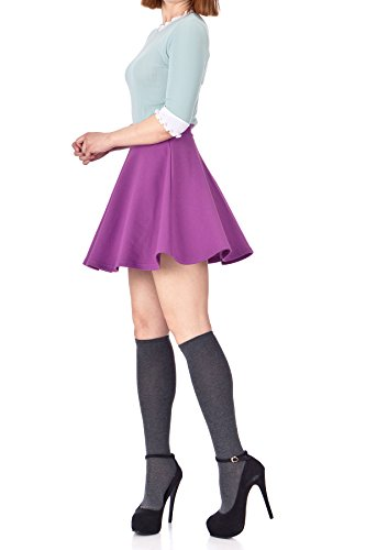 Basic Solid Stretchy Cotton High Waist A-line Flared Skater Mini Skirt (L, Violet)