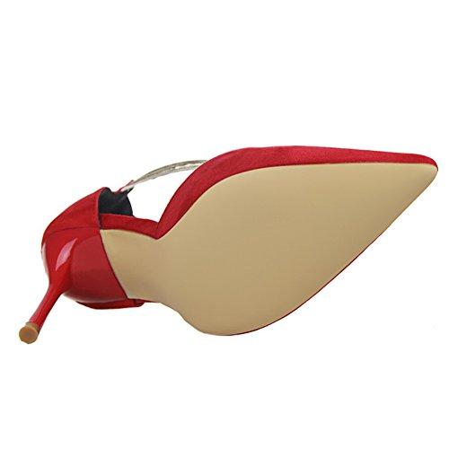 66 Ankle Shoes Pump Strap No Women's D'Orsay Suede Red Town Court Fashion fqd1wdx