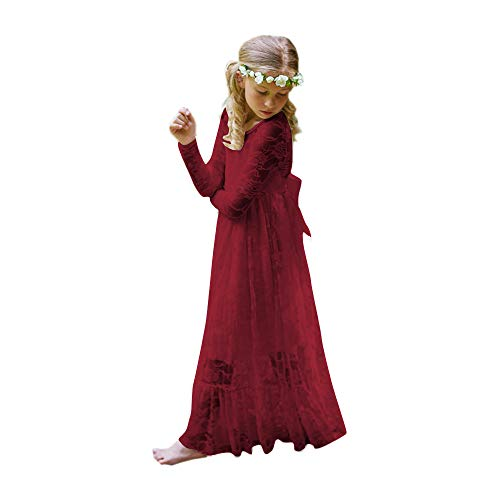 Fancy Lace Flower Girl Dress Boho Rustic First Communion Gowns(Size 12,Burgundy) -