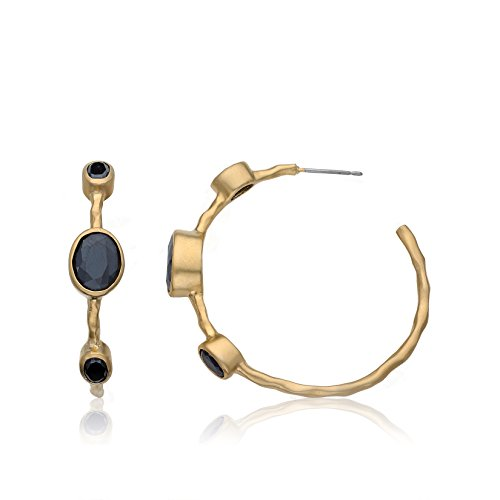 Riccova Arctic Mist Satin 14k Gold-Plated Hammered Hoop Earring With 3 Large Black Stones/ ()