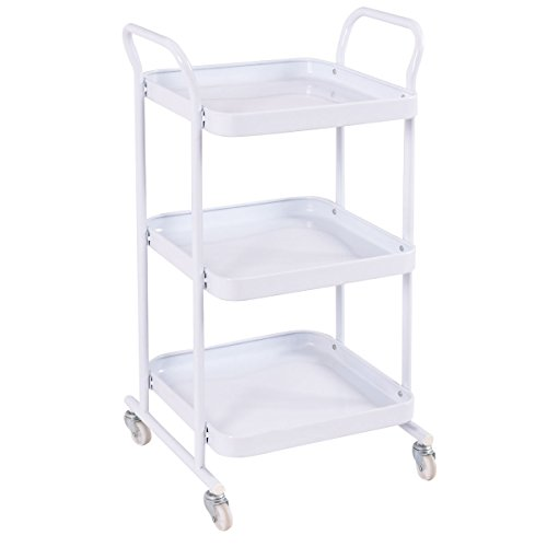 Giantex 3-Tier Rolling Kitchen Trolley Cart Steel Island Storage Utility Service Dining (3-Tier)