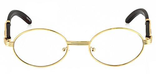 b2bf1c8b46 Elite WOOD Art Clear Lens Eyeglasses Unisex Vintage Fashion Oval Frame  Glasses (Gold