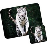 Gaze Of A White Tiger Mouse Mat / Pad and Coaster Set