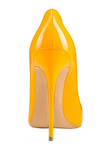 Shoes High pointed Toe Pumps Heels Womens Patent stiletto Party Yellow Soireelady Court wZxfqE1aE