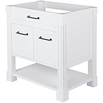 MAYKKE Delilah 30 Inch Bathroom Vanity Cabinet In Birch Wood White Finish,  Single Surface Mounted