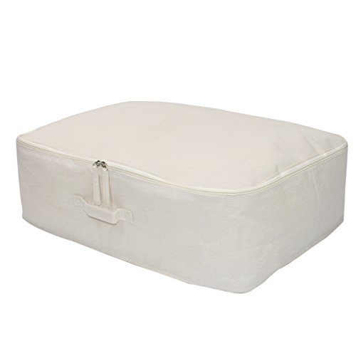 Voljee Waterproof Large Canvas Fabric Storage Bag for Comfortor, Quilt, Blanket