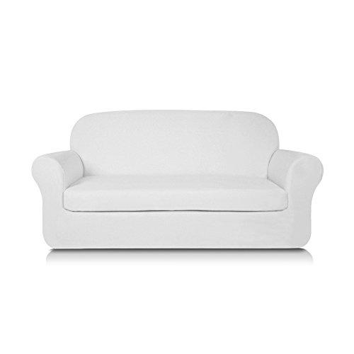 Subrtex Knit Jacquard Spandex Stretch 2-Piece Slipcover (Sofa, White)