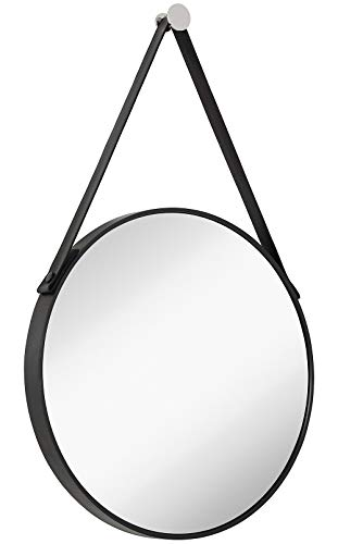 Hamilton Hills Hanging Black Leather Strap Metal Circular Wall Mirror with Chrome - Chrome Round Frame Bathroom For Mirrors