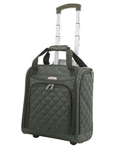 - Aerolite - Aerolite Carry On Under Seat Wheeled Trolley Luggage Bag (Olive)