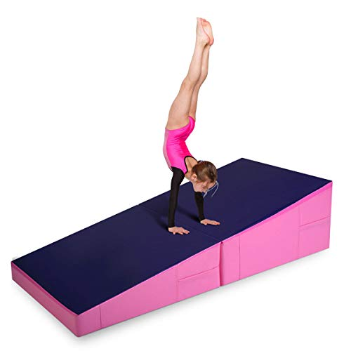 Folding Incline Mat Slope Cheese Gymnastics Gym Exercise Aerobics Tumbling Wedge with Ebook