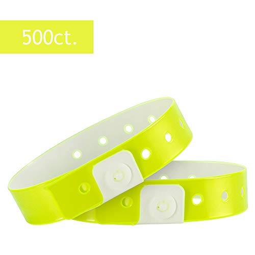 Ouchan Plastic Wristbands Neon Yellow- 500 Pack Wristbands for Events Club Music Meeting -