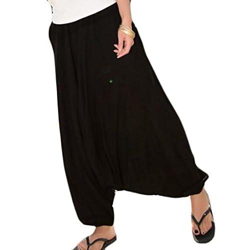 Cruiize Womens Hip Hop Drawstring Aladdin Baggy Harem Linen Trousers Pant
