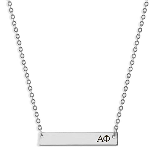 A-List Greek Horizontal Bar Necklace - Alpha Phi Hand Stamped Greeks Letters Jewelry | Silver Plated Sorority Necklaces - Great Gift for Sororities Girls, Big and Little Sister